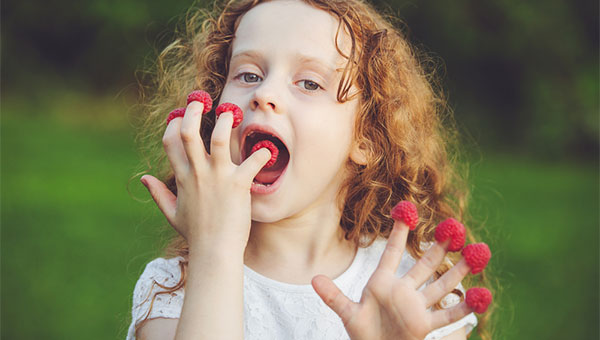 A young girl eats raspberries that she has placed on each of her fingertips.