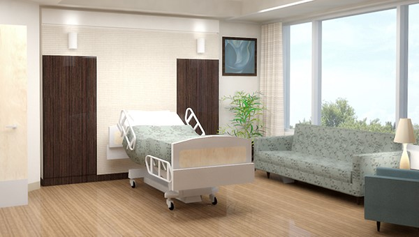 A patient room at St. Joseph's Hospital-North