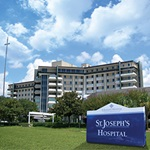 Exterior sign outside St. Joseph's Hospital building