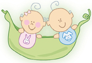 colored cartoon drawing of two babies in a hammock
