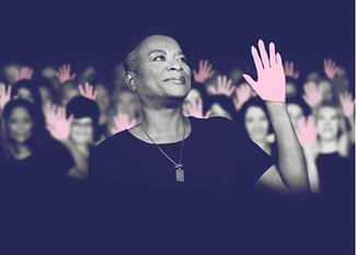 african american woman with black shirt and pink hand